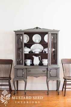 China cabinet painted in MMS Milk Paint Trophy, wood details, fretwork and interior left unpainted | miss mustard seed