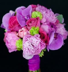Pretty hues of pink and violet in this bouquet by gardenpartyflowers.ca