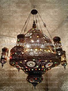 A HUGE pendant fixture. All hand-hammered and perforated. Jeweled with round glass colored stones. Moroccan Chandelier, Chandelier Bedroom, Antique Chandelier, Arabian Decor, Cool Chandeliers, Turkish Lamps, Lights Fantastic, Style Deco, Reproduction