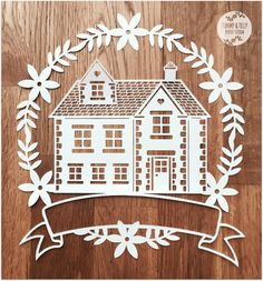 SVG / PDF Family Home Garland Design - Papercutting Template to print and cut yourself (Commercial Use)