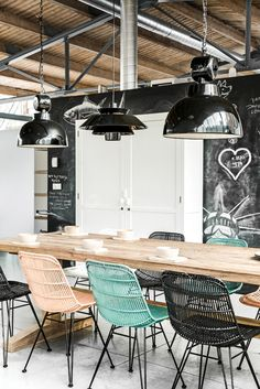 modern industrial eclectic | dining...great restaurant décor. Blackboard wall, black lighting, black turquoise beige chairs.