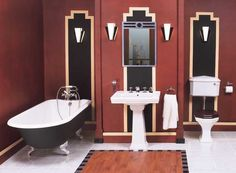 Beautiful art deco bathroom featuring a bold colour and fixtures which are typical of the style.
