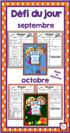 Défi du jour - septembre (French Problem of the day and Literacy FUN! French Teacher, Teaching French, Writing Folders, 2nd Grade Math, Grade 1, French For Beginners, French Worksheets, Core French, French Education