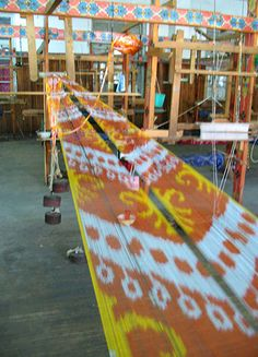 Ikat weaving - Tie-dye resist yarns dyed before the weaving process - Central…