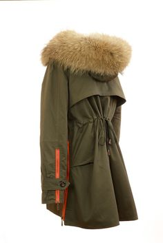 Raccoon Fur Collar Parka Jacket Green Back Side
