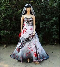roadkill blackened burned and bloody zombie bride costume halloween wedding dress run over tire tread blood - Halloween Wedding Gown