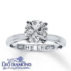 Leo Diamond Artisan Ring 2 Carat Diamond 14K White Gold