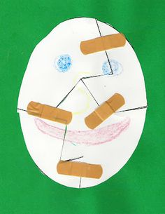Printable template for a Humpty Dumpty puzzle craft. Use bandages to put him together again!
