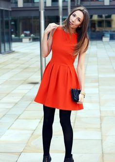 Orange dress and black tights. I would choose patterned tights, probably black and white stripes. Orange Outfits, Red And Black Outfits, Black Dress Outfits, Girl Outfits, Dress Black, Girls Casual Dresses, Nice Dresses, Woman Dresses, Vestidos Color Naranja