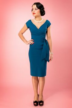 So Couture - TopVintage exclusive ~ Teal Hourglass Vintage Pencil dress