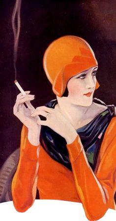 a woman hold a cigarette, seem like she obsess with orange colour