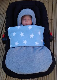 Car Seat Cosy Wrap Swaddle Blanket Grey lined with by SiennaChic, £34.99