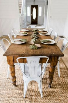 New Farmhouse dining room table and chairs. DIY farmhouse table and gray armchair with nail head details. A beautiful Neutral Modern Farmhouse Dining Room Read French Country Dining Room, Farmhouse Dining Room Table, Dining Room Furniture, Cottage Farmhouse, Farmhouse Ideas, Furniture Ideas, Dinning Chairs, French Farmhouse, Farmhouse Bench