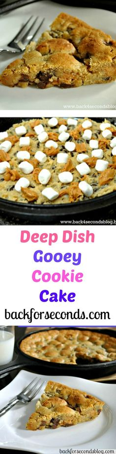 Deep Dish Gooey Chocolate Chip Cookie Cake Recipe with Peanut Butter and Marshmallows