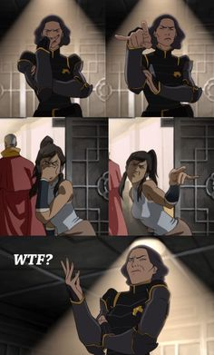 In the second panel, Lin has six fingers. It must be a Bei Fong thing