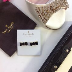 SOLD! KATE SPADE authentic black gold bow earrings Golden tone and black bows make these Kate Spade authentic beauties a wonderful addition to your collection! Comes in designer jewelry bag and KATE SPADE gift box. kate spade Jewelry Earrings