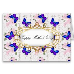 Blue Butterfly Mother's Day Greeting Card by Graphic Allusions. #mothersday
