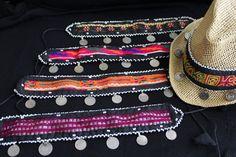textil monedas ETNICO KUCHI para sombrero playa afghan gypsy boho vintage hat coins de azulcasinegro