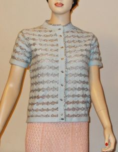 1950s Shetland Wool Rockabilly Pinup School Girl Preppy Baby Blue Silver Striped Metallic Womens Short Sleeve Cardigan Sweater by Sweetlorraines2 on Etsy