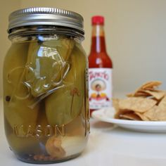 Pickled Jalapeños; going to try this with all the Jalapenos I have.