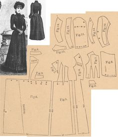 Der Bazar 1889: Directoire genre mourning dress; 1. Bodice's lining front part, 2. plastron, 3. belt in half size, 4. overdress' front part, 5. side gore, 6. back part in half size, 7. lapel, 8. collar in half size, 9. pocket, 10. and 11. upper sleeve part lining and pouffy part, 12., 13. and 14. under sleeve parts, 15. cuff