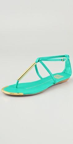 Dolce Vita DV Archer Flat Sandals  Mint & Gold