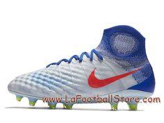 innovative design d1356 8a961 Nike Magista Orden II FG Racer Blue Volt Chaussure Nike Pas cher de football  à crampons pour terrain sec pour Homme Blanc Bleu