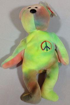 Ty Neon Peace Bear Beanie Babies 1996 Retired Tye Dye 6th Tush 5th Gen Swing Tag #Ty #BeanieBabies #plush Peace Beanie Baby, Beanie Babies, Plush Animals, Stuffed Animals, Dinosaur Stuffed Animal, Swing Tags, Tye Dye, Neon, Ebay