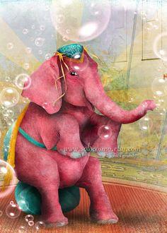 Senora Beatriz, el elefante rosa ACEO/ATC Artists Trading Card Mini Premium Fine Art Print 2.5x3.5 inches