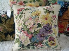"Gorgeous Wool Needlepoint Cushion Cover/Pillow sham 267 by Victoria's Deco. $49.99. Size:14""x14"". Color: as shown in the picture. Filling not included.. Material:100% wool (face),velvet(back). You are so lucky to have this gorgeous cushion cover. It can be used anywhere in your home. Beautiful wool needlepoint by hand pattern. Delicate, elegant, and romantic. It is a valuable art for your family. Unique in the world.    Measures 14""x14""     Made from 100% wool (face),velvet(back..."
