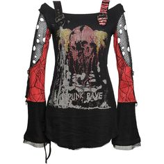 Black-red women's top with net sleeves, by Punk Rave