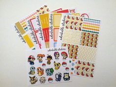 Listing is for a complete planner sticker kit for 5 sticker sheets in the Pokebits  sticker collection. Kit includes: 1 page glossy full boxes 1 page glossy washi 1 page matte headers, checklists and weekend banner 1 page matte labels 1 page matte full box checklists 1 sheet glossy decorative Stickers are designed to fit perfectly in the Erin Condren Vertical Life Planner. Each sticker sheet is approximately 5x7 in size.  About Adorkable Stickers: Adorkable Stickers are all original…