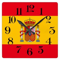 #wall clock Spanish flag - #country gifts style diy gift ideas