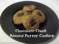 Chocolate Chunk Almond Butter Cookies (Gluten Free/ Grain Free/ Refined Sugar Free/ Dairy Free)
