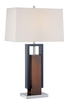 Features:  -Number of lights: 1.  -Finish: Brushed nickel with walnut and black wood.  -Shade color: Tan.  Fixture Finish: -Walnut.  Hardware Finish: -Brushed nickel.  Fixture Material: -Metal/Solid W