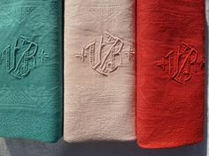 6 ANTIQUE FRENCH RAINBOW COTTON LINEN MONOGRAM VR NAPKINS HAND DYE GAY COLOR WOW