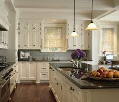 Kitchens With White Cabinets And Wood Floors White Flower Fabric Window  Blinds White Lacquered Wood Cabinet Hardware Beige Granite Seamless  Counntertops ...