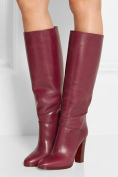 Heel measures approximately 100mm/ 4 inches Plum leather Pull on