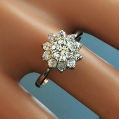 Vintage 14k White Gold Diamond Flower Cluster by SITFineJewelry, $5970.00