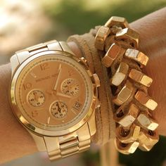 rose gold Michael Kors watch + DIY hex nut bracelet, originally by Honestly WTF via the stylish housewife Gold Jewellery Design, Gold Jewelry, Jewelery, Gold Bracelets, Watch Bracelets, Bullet Jewelry, Gothic Jewelry, Jewelry Necklaces, Layering Bracelets