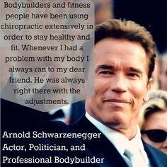 Arnold Schwarzenegger on Chiropractic Chiropractic Humor, Benefits Of Chiropractic Care, Chiropractic Office, Family Chiropractic, Sports Chiropractor, Famous Words, Health Center, Acupressure, Acupuncture