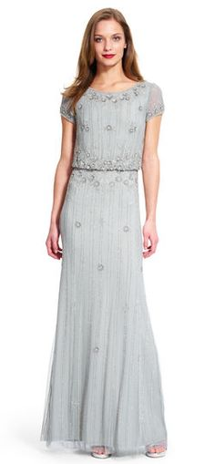 Adrianna Papell beaded blouson gown | Figure flattering and sophisticated, this blouson gown features beading throughout.
