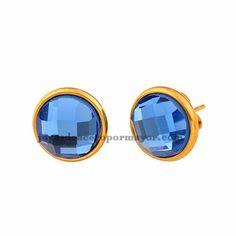aretes de cristal azules 11mm en acero dorado online -SSEGG392116