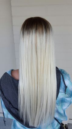 Platinum white blonde hair balayage. Shadow root. By Amanda