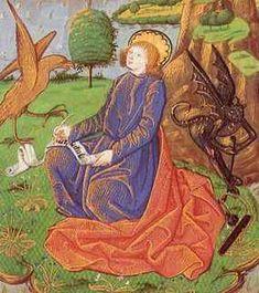 San Giovanni scrive l'Apocalisse. Rouen, Libro delle ore. 1480 circa.