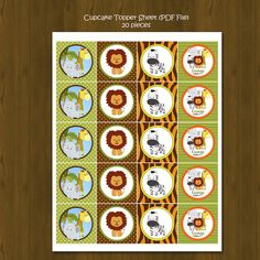 Safari Zoo Jungle Cupcake toppers with Free by SplashboxPrintables