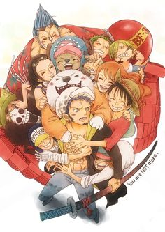 One piece~ haha Zoro and Sanji fighting in the back (^_^) -- Tra is just so adorable