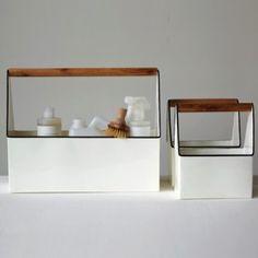 White Tin Caddies With Wood Handles, Set of 3