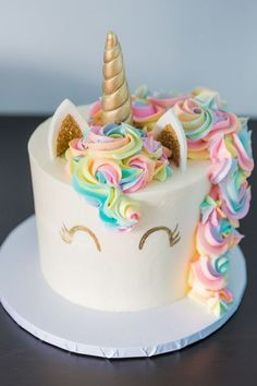 Unicorn 1st birthday   Rainbow birthday party   100 Layer Cakelet