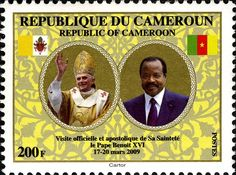 Stamp: Official and Apostolic Visit of Pope Benedict in Cameroon (Cameroon) (Official and Apostolic Visit of Pope Benedict in Cameroon) Mi:CM 1257,Yt:CM 916,Sg:CM 1226,WAD:CM001.09